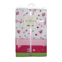 Lambs & Ivy Raspberry Swirl Flannel Blanket 4-Pack