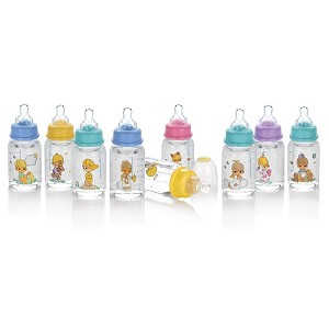 Nuby Precious Moments� Clear Rounded Printed Bottles, 4oz