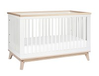 Babyletto Scoot 3 in 1 Convertible Crib with Toddler Bed Conversion Kit, White with Washed Natural