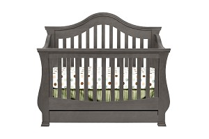 Million Dollar Baby Ashbury 4 in 1 Crib with Toddler Rail, Manor Gray