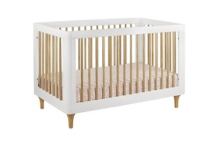 Babyletto Lolly 3 in 1 Convertible Crib with Toddler Rail, White & Natural