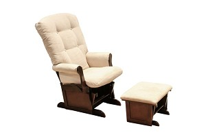 DaVinci Classic Sleigh Glider and Ottoman in Beige and Espresso