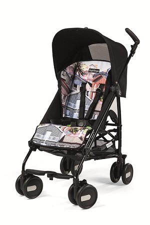Peg Perego Pliko Mini in House - Solid Black with House Print