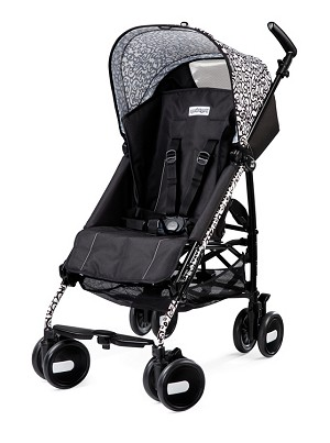 Peg Perego Pliko Mini in Ghiro' - Solid Black with White Scroll Print