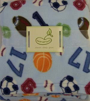 Beansprout Micro Polar Fleece Blanket Sport Blue