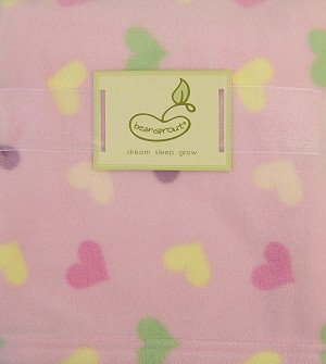 Beansprout Micro Polar Printed Heart Pink Blanket