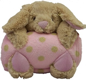 Pem America Plush Animal with Blanket Brown Bunny