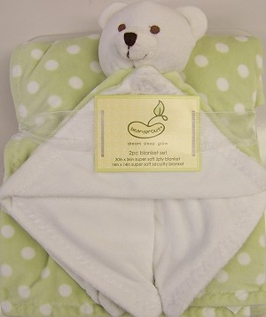 Pem America Super Soft Boa 2pc Dot Sage Blanket Set
