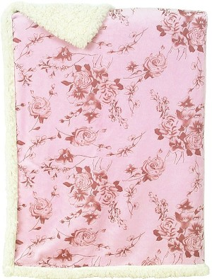 Laura Ashley Carved Printed Mink Sherpa Blanket Pink