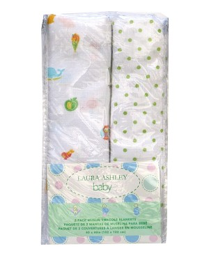 Laura Ashley Muslin 2 Pack Muslin Wrap Printed Owls