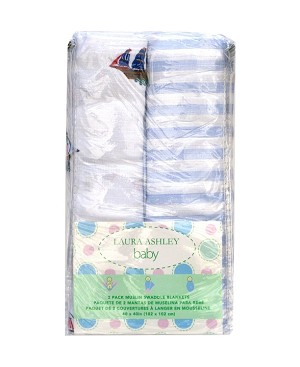 Laura Ashley 2 Pack Muslin Wrap Ships and Stripes