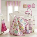 Laura Ashley Owlphabet 4-Piece Crib Bedding Set Pink