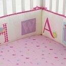 Laura Ashley Owlphabet Crib Bumper 4-Pieces Pink