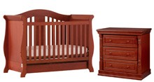 Storkcraft Vittoria Convertible Crib & Monterey 3dr Chest, Cognac
