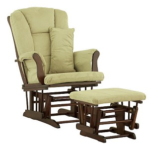 Storkcraft Tuscany Glider and Ottoman, Cherry & Sage