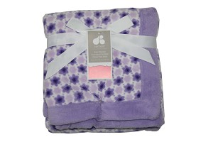 Just Born Printed Fluffy Fleece Blanket Lavender Flower