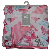 Just Born 2-ply Printed Valboa Blanket-Pink Butterfly