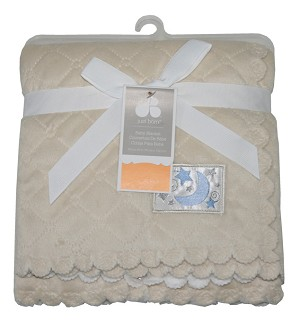 Just Born Quilted Scallop Valboa BLanket - Tan