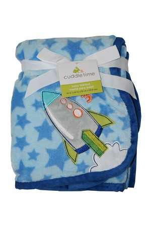 Cuddle Time Fluffy Fleece Blanket with Rocket Applique