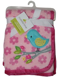 Cuddle Time Fluffy Fleece Blanket with Bird Applique