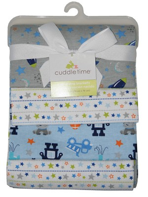 "Cuddle Time 4-Pack ""Space"" Flannel Receiving Blankets"