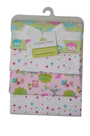 Cuddle Time 4-Pack Owl Nature Print Flannel Receiving Blankets
