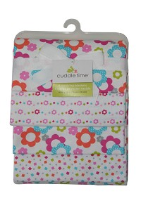 Cuddletime 4 Pack Flannel Receiving Blankets - Flower Print