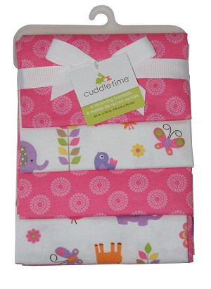 Cuddle Time Sunshine Jungle 4-Pack Flannel Receiving Blankets