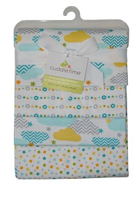 Cuddle Time 4-Pack Flannel Receiving Blankets Clouds and Stripes