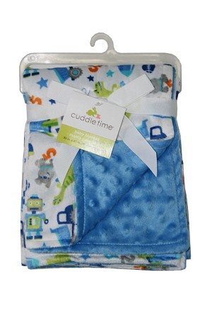 Cuddle Time Reversible Valboa Blanket Blue Print, Boy