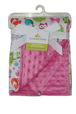 Cuddle Time Reversible Valboa Blanket Pink Print, Girl