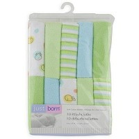Just Born Knit Terry Washcloth Set (Set of 10)  Green