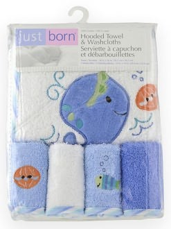 Just Born 5 Piece Bath Starter Set - Blue Whale