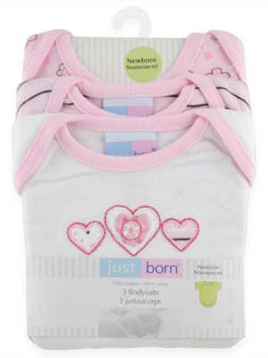 Just Born 3Pk Bodysuit (White & Pink)  0-3 Months