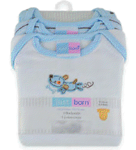 Just Born 3 Pack Bodysuit in White & Blue, Newborn