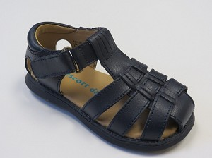 Rachel Sailor Leather Sandal in Navy