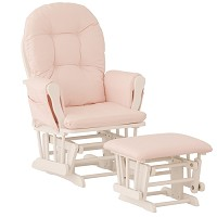 Storkcraft Hoop Glider & Ottoman in White and Pink