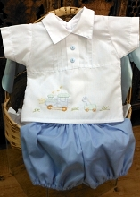 Will'beth Short Sleeve Baby Set 2-Pieces White-Blue Newborn
