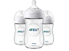 Avent Natural Baby Bottle Clear 9 oz, 3 Pack