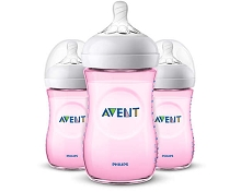 Avent Natural Baby Bottles 9oz 3 Pack-Pink