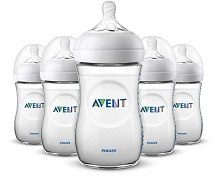 Avent Natural Baby Bottle Clear 9 oz, 5 Pack