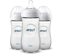 Avent Natural Baby Bottle Clear 11 oz, 3 Pack