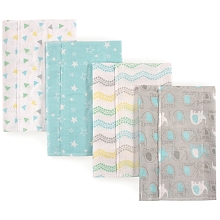 Luvable Friends Layered Flannel Burp Cloth 4 Pack, Gray Elephant