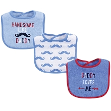 Luvable Friends 3-Pack Drooler Bib  Boy-Daddy