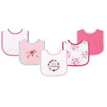 Luvable Friends Drooler Bibs with Waterproof Back, 5 Pack Floral