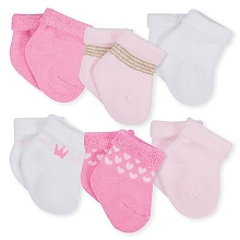 Gerber 6-Pack Terry Booties, Girl-Princess 3-6 Months