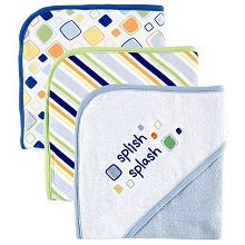 Baby Vision 3 Pack Hooded Towels Saying Blue