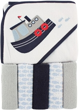 Luvable Friends Hooded Towel and 5 Washcloths Tugboat