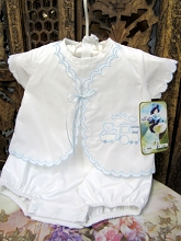 Will'bet Baby Boys Romper Choo Choo Train, White-Blue