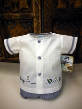 Will'beth Gingham Baby Boys Set 2 Pieces , Newborn, White-Navy